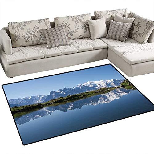Lake Floor Mat for Kids Mont Blanc Mountain Range Reflected in Cheserys Lake Alps France Panorama Bath Mat Non Slip 55