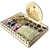 Gotian Wooden Artistic Eid Mubarak Party Serving Tableware Tray Display Wood Decoration ~ Table Decorations ~ Dessert Tray ~ for Cakes, Dates & Other Small Treats (B)
