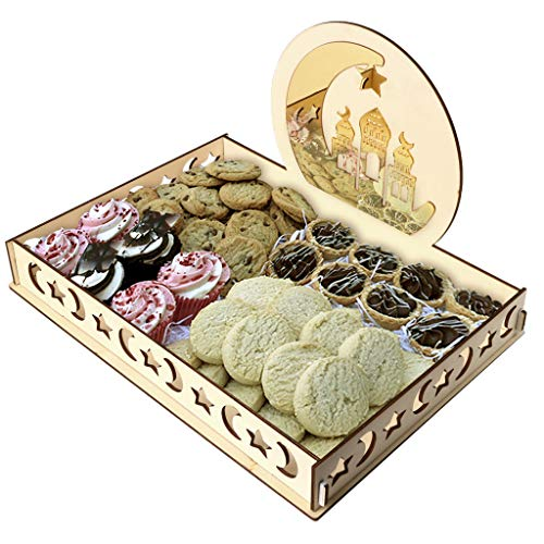 Gotian Wooden Artistic Eid Mubarak Party Serving Tableware Tray Display Wood Decoration ~ Table Decorations ~ Dessert Tray ~ for Cakes, Dates & Other Small Treats (B) ()