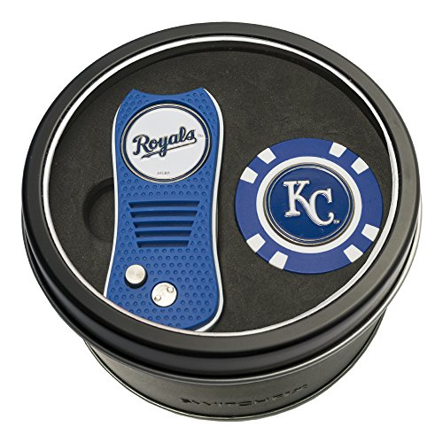 Team Golf MLB Kansas City Royals Gift Set Switchblade Divot Tool & Chip, Includes 2 Double-Sided Enamel Ball Markers, Patented Design, Less Damage to Greens, Switchblade Mechanism ()