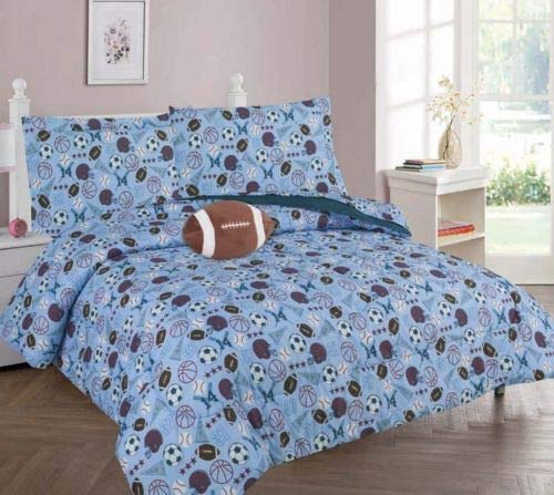 Superior Home 8 Piece Full Kids Boys Comforter Set Bed in Bag w/Shams, Sheet set and Decorative Toy Pillow, Sports Soccer Baseball Football Light Blue Boys Comforter Bedding Set w/Sheets, Full 8pc MVP