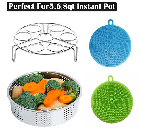 Steamer Basket Rack Set For Instant Pot Accessories, Fits Instant Pot 5, 6, 8qt Pressure Cooker With Silicone Dish Sponge and Egg Steaming Holder Rack Stand Set