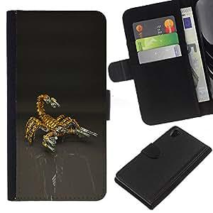 EJOY---La carpeta del tirón la caja de cuero de alta calidad de la PU Caso protector / Sony Xperia Z2 D6502 / --Escorpión Bot Mech Robot