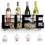 Besti Premium Black Wall Mount Metal Wine Rack with Home Wine Word Hanging Horizontal Bottle Holder Storage Decorative Display - Sturdy Construction -Home Décor for Living Room Or Kitchen (Life)