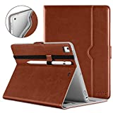 DTTO New iPad 9.7 Inch 5th 6th Generation 2018 2017 Case with Apple Pencil Holder - Premium Leather Folio Stand Cover Case for Apple iPad 9.7 inch - Also Fit iPad Pro 9.7 Air 2 Air - Brown(Grey Lining)