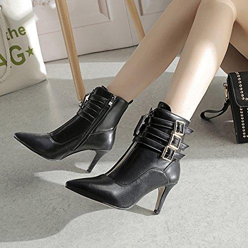 YE Damen Ankle Boots Stiletto High Heels Spitze Stiefeletten mit Reißverschluss und Schnallen 8cm Absatz Elegant Schuhe Schwarz