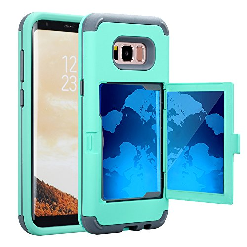 TabPow Galaxy S8 Case, Hidden Door Slim Wallet Case, Fits 2 Cards and Cash, Reinforced Drop Bumper Protection, Open Mirror, Front Frame Screen Protection for Samsung Galaxy S8 (2017) -Turquoise Blue