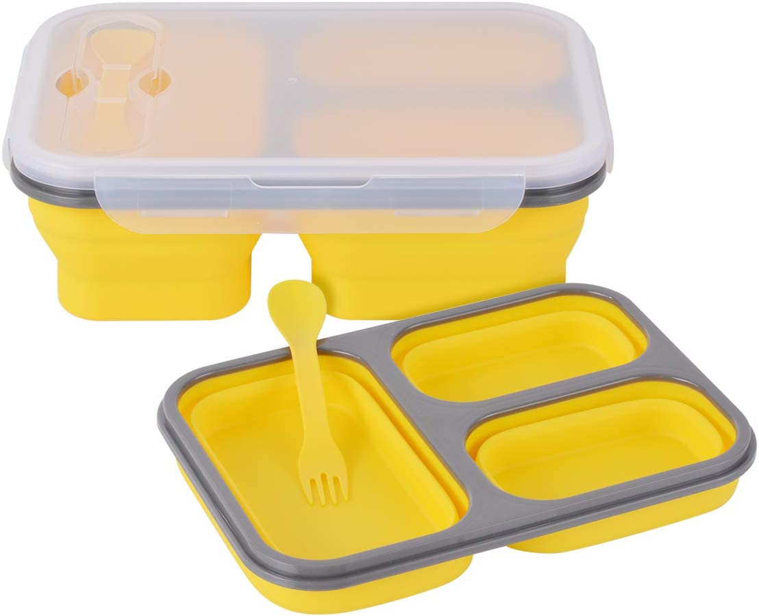 Xcellent Global Collapsible Silicone Food Storage Container, Lunch Bento Box, 3-Compartment with Fork Spoon, BPA free, for Adults & Kids (3 Compartment yellow)