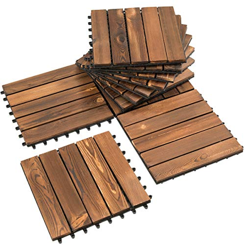NanaPluz 12″x12″ 22Pcs Stripe Design Interlocking Floor Tiles Patio Pavers Wood Deck Tiles – Brown with Ebook
