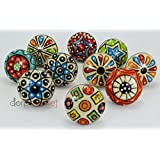 BLUE NIGHT10 Pieces Set Dotted Ceramic Cabinet Colorful Knobs Furniture Handle Drawer Pulls
