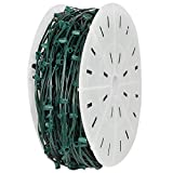 Holiday Lighting Outlet C7 Christmas Stringer Bulk, 6'' Spacing, Candelabra Base (E12), SPT-1 7 Amp wiring, 1000' Reel (Green, 6'' Spacing)