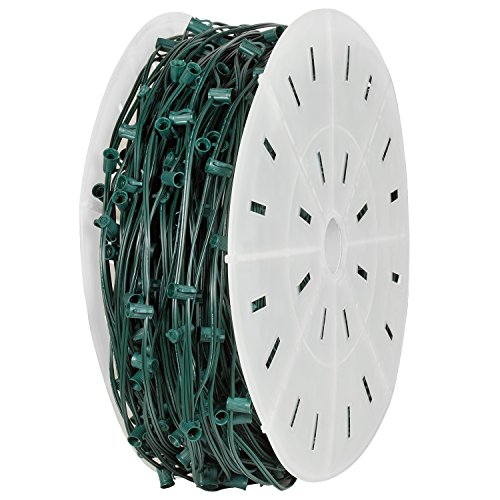 Holiday Lighting Outlet C9 Christmas Stringer Bulk, 15'' Spacing, Candelabra Base (E17), SPT-2 10 Amp wiring, 1000' Reel (Green, 15'' Spacing) by Holiday Lighting Outlet