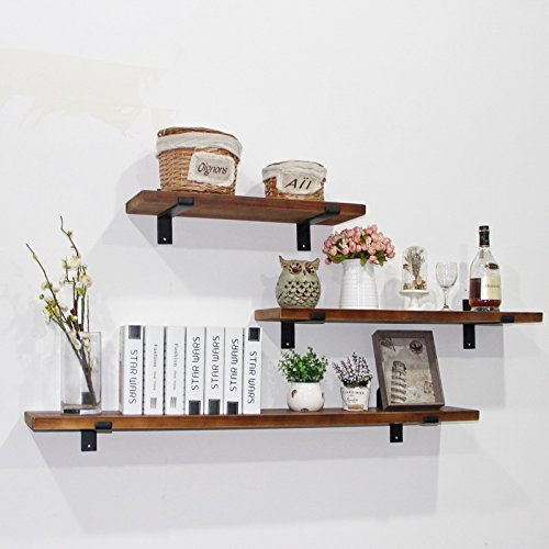 WGX 24\'\' 2-Tiers Rustic Kitchen Wood Wall Shelf with Metal Bracket Also  Multi Use Can Be Used As a Spice Rack Living Room or Bedroom Wall Shelf