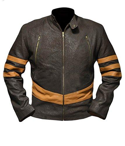 F&H Men's X-Men Origins Wolverine Genuine Leather Jacket 4XL Brown (Original X Men Costumes)