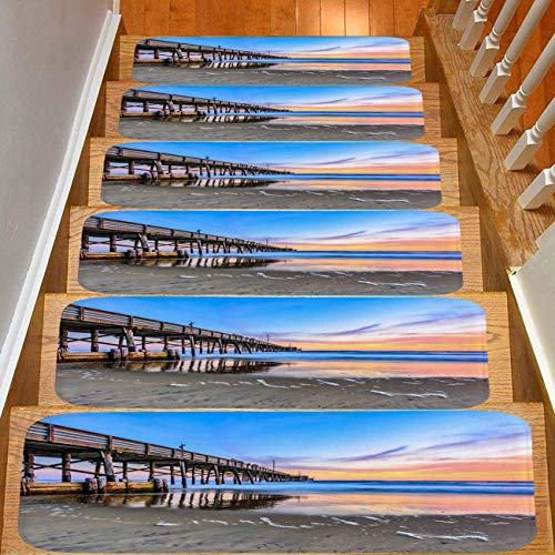 13-Pack Creative Color Printed Flannel Stair mat,Non-Slip,Newport Wooden pier Beach Sunset Multicolor Safety Slip Resistant Stair mat Protection Children,Elders,Dogs (Best Part Of Cliff Walk Newport)