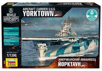 "ZVEZDA 9203 - Aircraft Carrier U.S.S. Yorktown - Plastic Model Kit Scale 1/1200 49 Details Lenght 8.25"""