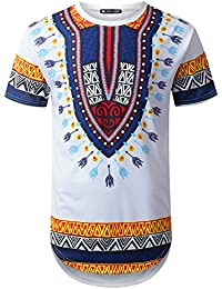 Mens Hipster Hip Hop Dashiki Graphic Longline T-Shirt (Various Styles)