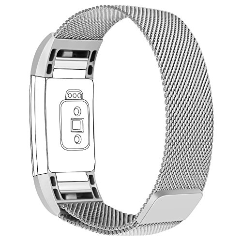 Lotyes Bands for Fitbit Charge 2, Milanese Loop Stainless Steel Replacement Metal Strap with Unique Magnet Lock