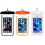 (3Pack) Universal Waterproof Phone Case, CaseHQ IPX 8 Waterproof Phone Pouch Dry Bag Neck Strap for iPhone X/8 Plus/8/7/6S Plus, Samsung galaxy S9,S8 S8 plus, up to 6.0 diagonal -black+pramge+white