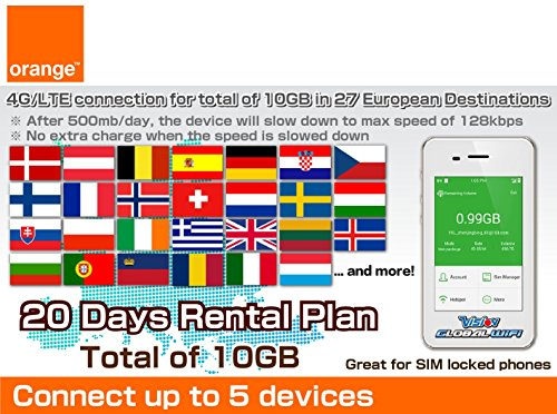 Orange SIM Card 4G/LTE Europe Mobile WiFi Hotspot Rentals 500mb/day (Total 15GB) - 30 Days by VISION GLOBAL WiFi