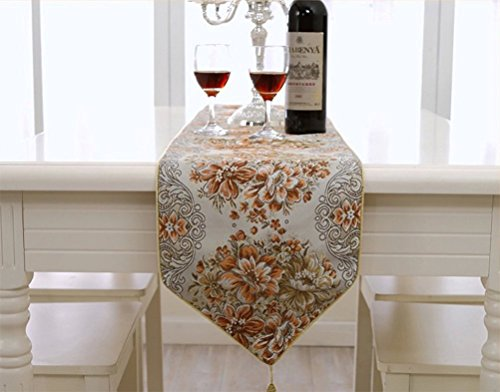 (BLUETOP Table Runner,Christmas Decoration Dining Table Runners Embroidery European Style Tassel Sequined Lace with Flower Hotel Bed Coffee Buffet Table Runners (Orange, 98