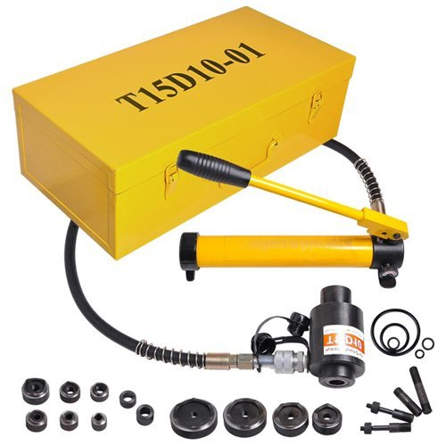 15 Ton Yellow Hydraulic Metal Hole Knockout Punch Driver Tool Kit