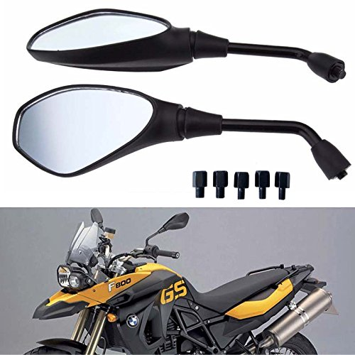 Honda Victory and More Suzuki Motobiker 1Pair Heavy Duty Motorcycle Rear View Side Mirrors-8mm 10mm Clockwise Threaded Mounting Bolt-Fits for Kawasaki