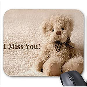 Mousepad Teddy Bear I Miss You Quotes Print Mouse Mat