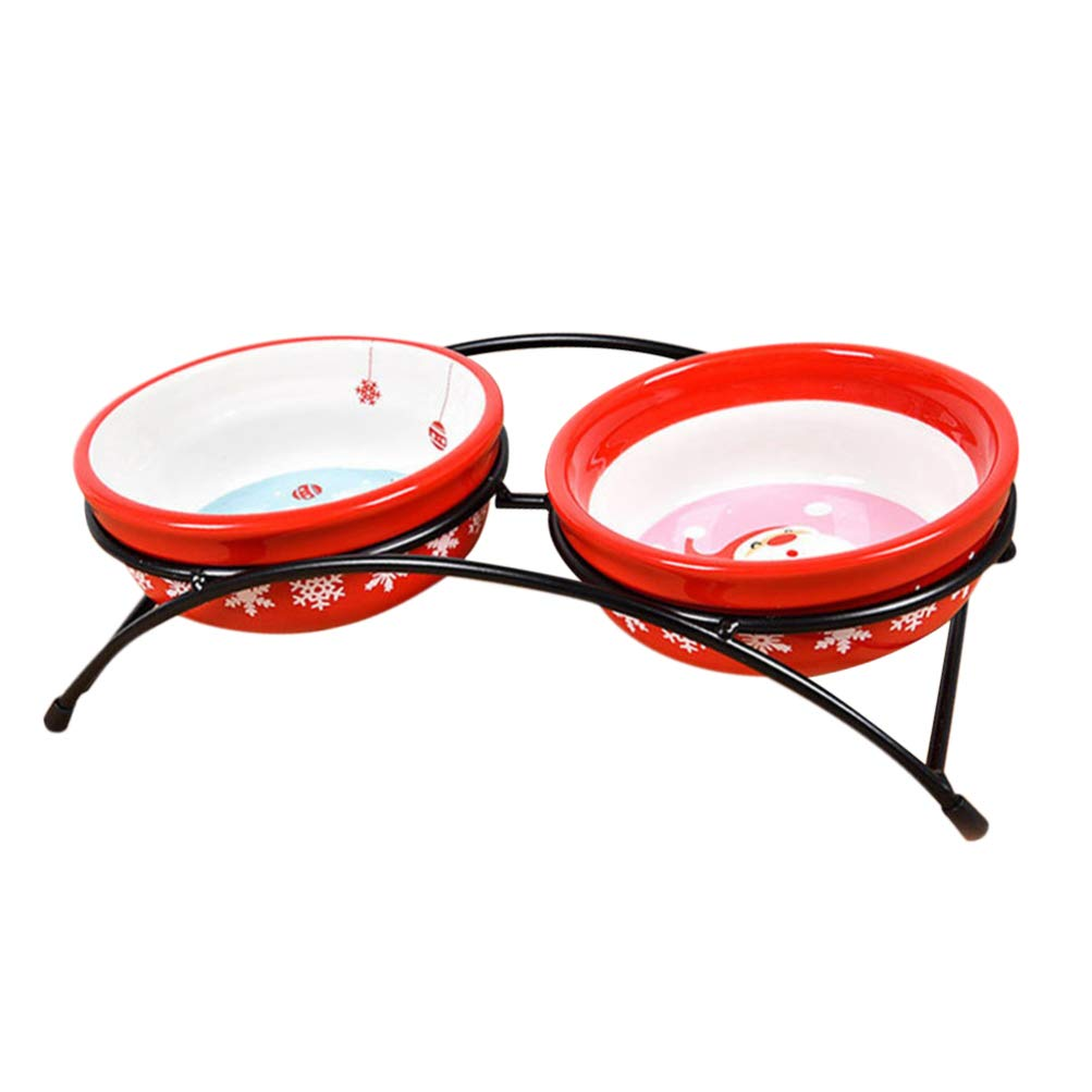 Balacoo Christmas Pet Double Bowl Raised Ceramic Pet Bowls Dog Cat Food Water Bowls Stand Feeder for Puppy Kitty by Balacoo
