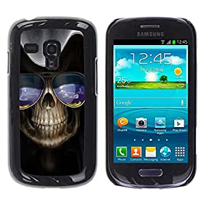 Caucho caso de Shell duro de la cubierta de accesorios de protección BY RAYDREAMMM - Samsung Galaxy S3 MINI NOT REGULAR! I8190 I8190N - Skull Sunglasses Art Skeleton Blue Nature