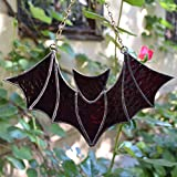 Stained Glass Bat Suncatcher for Window Hanging or Wall Decor Dark Purple - Halloween Home Accent