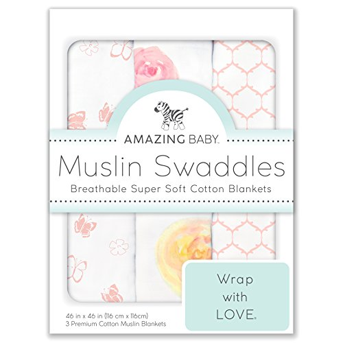 Amazing Baby Cotton Muslin Swaddle Blankets, Set of 3, Watercolor Roses, Pink Baby Pink Roses