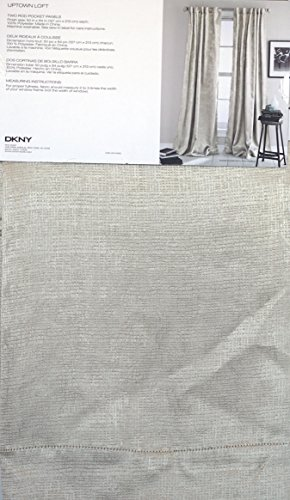 DKNY Pair of Window Rod Pocket Panels Curtains Drapery Set of 2 Tan / Cream / Off-White with a Textured Geometric Grid Screen Pattern — Uptown Loft — 50 Inches by 84 Inches