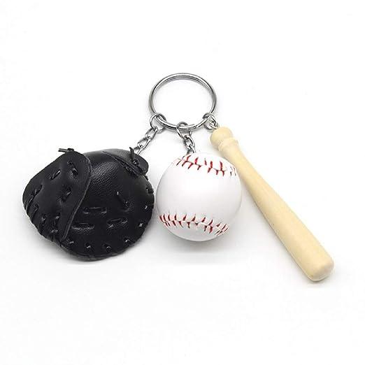 4 llaveros con diseño de guante de béisbol y murciélago ...