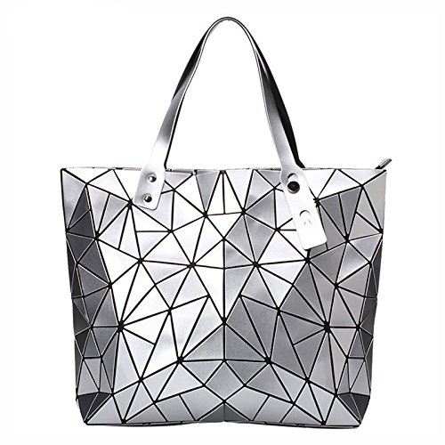New Fashion Bag Women Casual Tote Fold Handbag Laser Geometric Designer Handbags Ladies Shoulder Bag High Quality (Silver Color) -