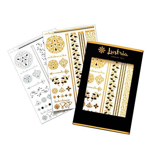 Lustria Metallic Tattoo Jewelry - Bracelets, Armlets & Anklets - Arabesque Garden - 2 Sheet