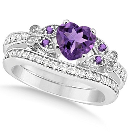 Preset Butterfly Amethyst and Diamond Engagement Ring and Band Bridal Set 14k White Gold 2.70ctw