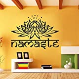 "Mandala Wall Decal Namaste Om Sign With Lotus Flower Vinyl wall decal Interior Home Decor Art Wall Decor Bedroom Yoga Art(29.5""h x42""w,Black)"