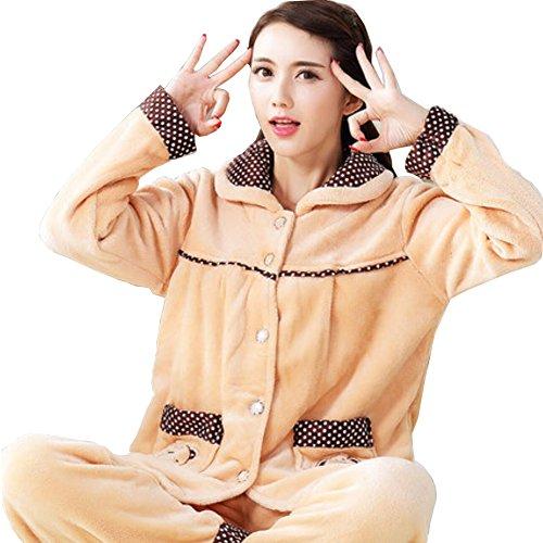 donne Pigiama delle Robe Warm 07 flanella più spesse Suit RAwTAqEz