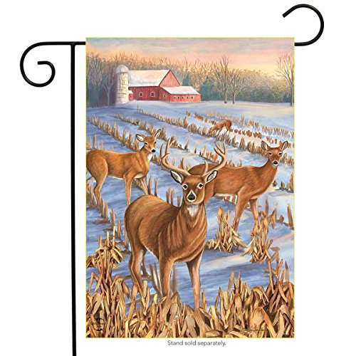(Winter Deer Farm Garden Flag Snowy Scene Buck Doe Meadow 12.5