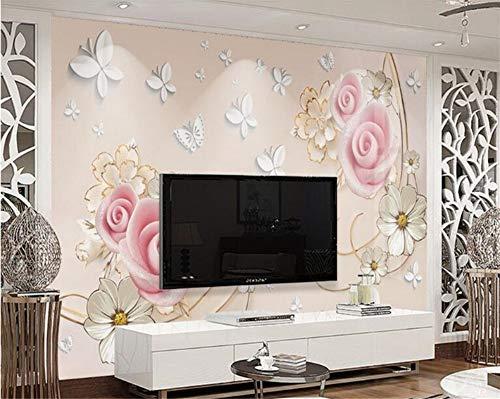 Mbwlkj Custom Mural 3D American Style Wallpaper Rose Butterfly Vine Formal Tv Background Wall-300cmx210cm