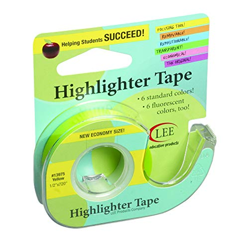 (Lee Products Company LEE13975BN Removable Highlighter Tape, Yellow, Pack of 6)