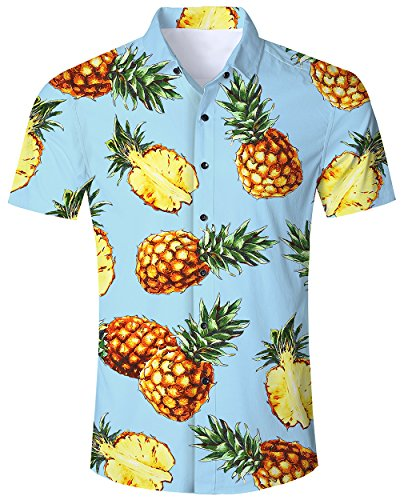 RAISEVERN Men's Regular Fit Pineapple Short Sleeves Button Down Hawaiian Shirts Aloha, XL, Blue Pineapple-t
