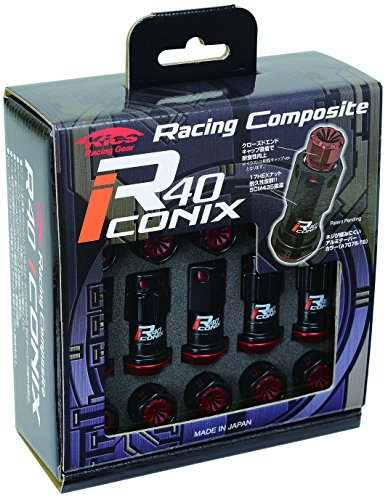 KYO-EI Industry wheel lock & nut Racing Composite R40 iCONIX [M12 x P1.5] with resin cap [Black / Red] RIF-11KR