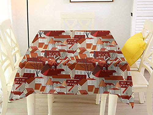 L'sWOW Square Tablecloth Gray City Landscape Illustration with Tile Roof Pattern Urban Architecture Ornamental Design Multicolor Western 50 x 50 ()