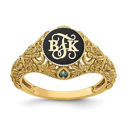 Womens Vintage Style Monogram Ring with Birthstone Accent - Made in Solid 10K Yellow Gold from Roy Rose Jewelry in Sizes 5-9