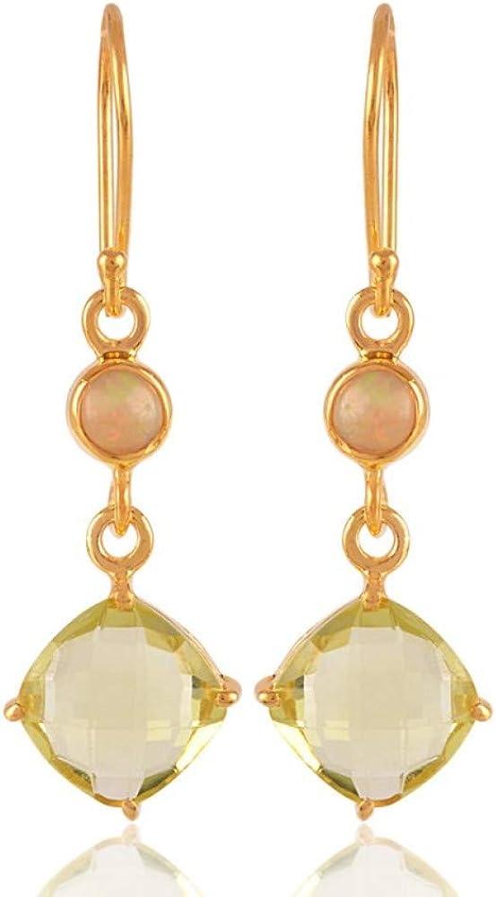 Natural Lemon Quartz And Ethiopian Opal Gemstone Earring