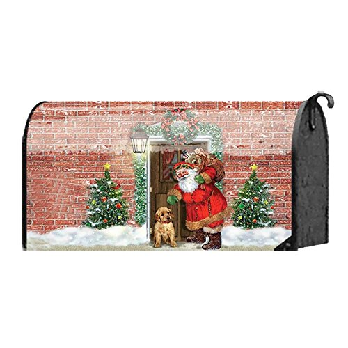 Red Brick Jolly Gift Laden Santa with Puppy 18 x 22 Christmas Standard Size Mailbox Cover
