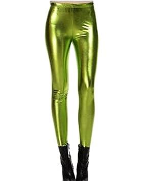 Guiran Mujer Skinny Pantalones Elástico Flacos Leggings Push Up Brillante  Metálico Leggins NVerde Talla única  Amazon.es  Deportes y aire libre 4566e237054a
