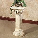 Corinthian Column Pedestal - Ivory Wash - Roman
